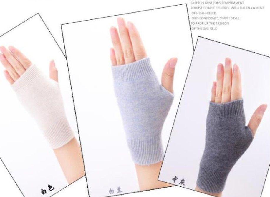 Sales Genuine Fine Sheep Wool Mitt Exposed Finger Women's Gloves Winter Autumn Knitted for Women Fingerless Gloves Wrist Mittens