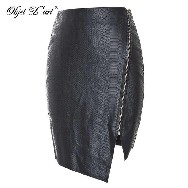 Mode Femmes Zipper Up Faux Serpent Peau En Cuir Jupe Polyester Doublure Sexy Asymétrique PU minijupe qualité supérieure Pour 4 Saison