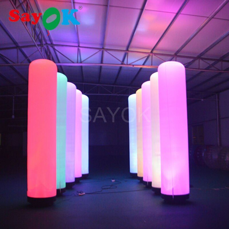 Inflatable LED Pillar Glow in the Dark Air Dancer LED Tube Fly Guy Puppet Combo Set with Blower for Advertising Event