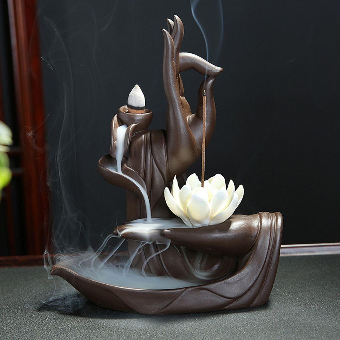 Ceramic Backflow Incense Burner Tathagata Buddha Lotus Incense Cones Stick Holder +10pc Cone Incense Creative Home Bouddha Decor