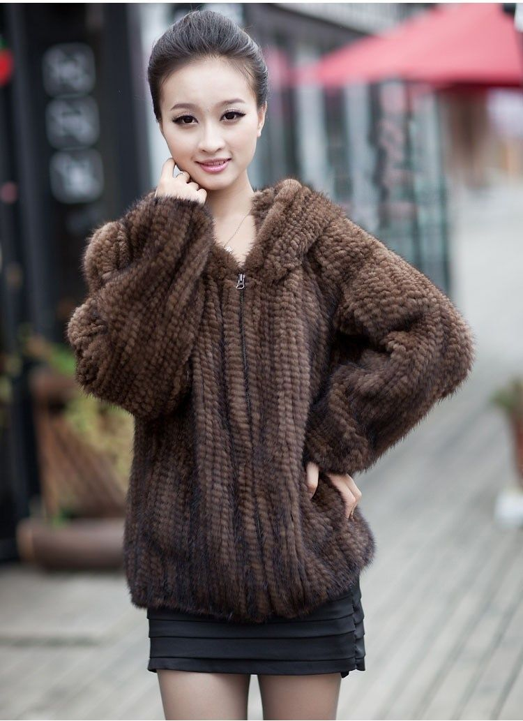 Winter Fur Coat Jacket for Women Genuine Real Knitted Mink Fur Outerwear Coats with Hood Size L to3XL Plus Size hoodies