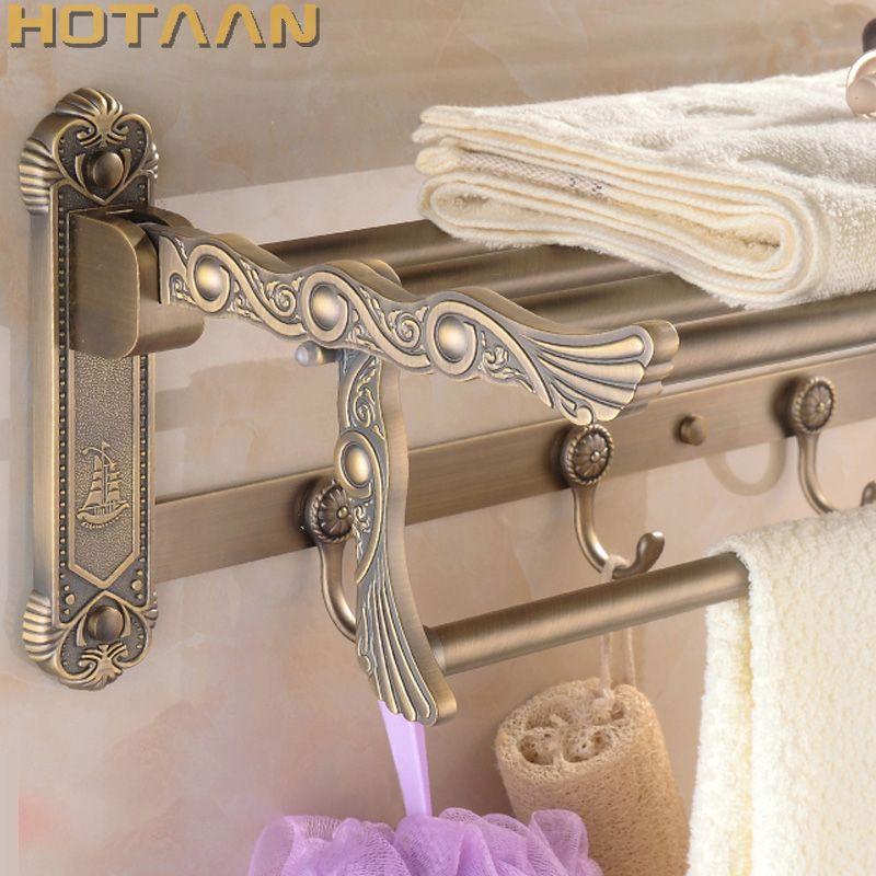 FREE SHIPPING, Bathroom towel holder, zinc alloy antique brass towel rack,60cm bath towel rack ,YT-4011