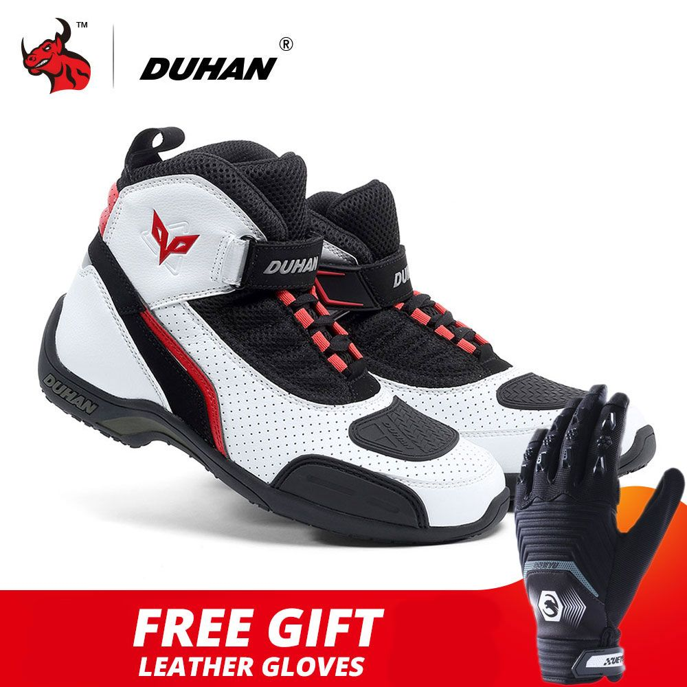 DUHAN Motorcycle Boots Summer Mesh Men Motorcycle Shoes Motocross Off-Road Racing Boots Moto Boots Motorbike Black White
