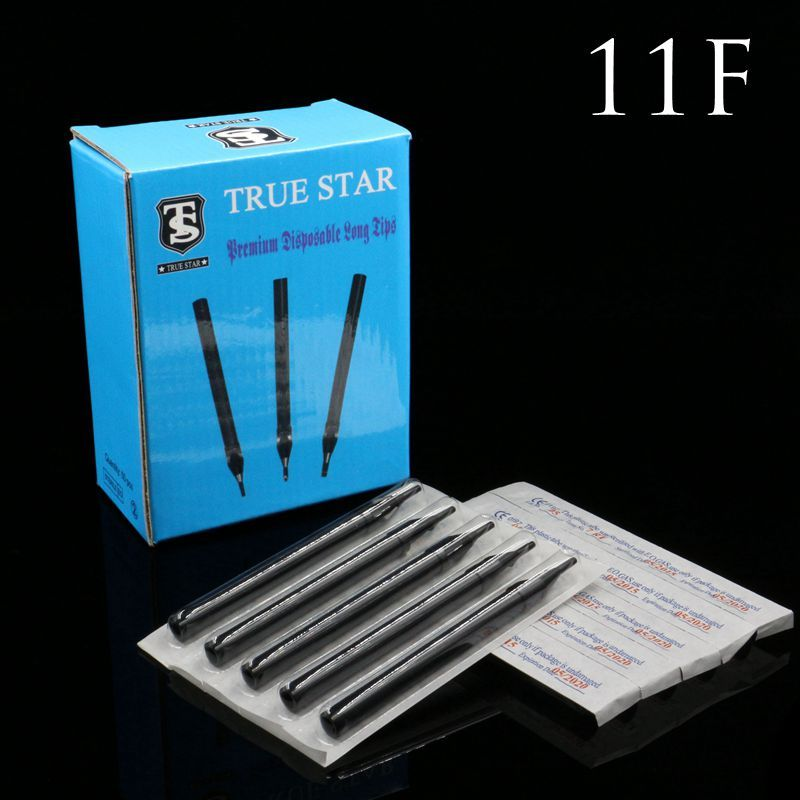 50PCS 11F Tattoo Tips True Star Black Long Disposable Tips 108mm needles tip For Free Shipping