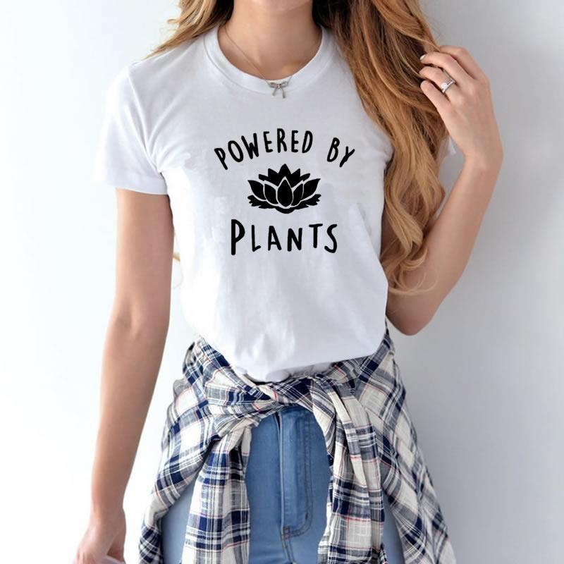 Livraison directe nouveau 2019 vente chaude végétarien végétalien alimenté par des plantes mode t-shirt pour les femmes Harajuku Tumblr t-shirt femme