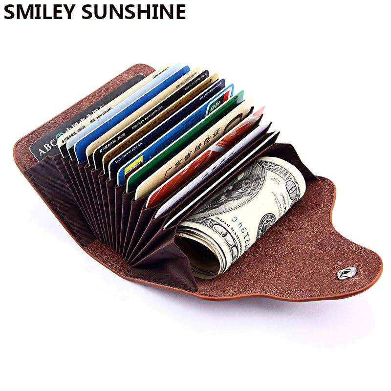 SMILEY SUNSHINE Genuine Leather Unisex Business Card Holder Wallet Bank Credit Card Case ID Holders Women cardholder porte carte