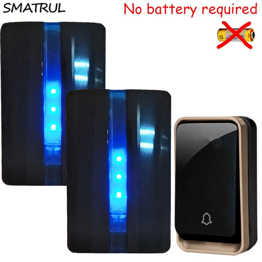 SMATRUL self powered Waterproof Wireless DoorBell no battery EU plug home Door Bell 1 button 2 Receiver 110V 220V LED light Deaf