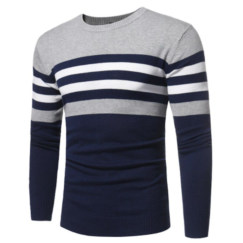 Sweater Men 2017 Brand Pullovers Casual Sweater Male O Collar Stripe Simple Slim Fit Knitting Mens Sweaters Man Pullover Men S
