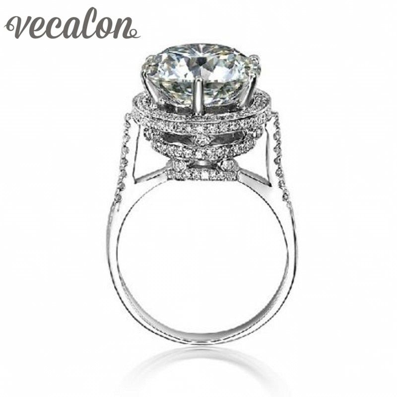 Vecalon 2016 Marke Design Weibliche Krone ring 5ct AAAAA Zirkon cz 925 Sterling Silber Engagement hochzeit Band ring für frauen