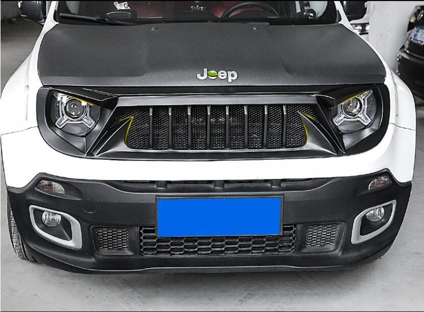 Hohe Qualität ABS SCHWARZ UNPAINT AUTO VORDEREN STOßFÄNGER RACING GRILLS GRILL UM TRIM ABDECKUNG FÜR Jeep Renegade 2016 2017 2018 2019