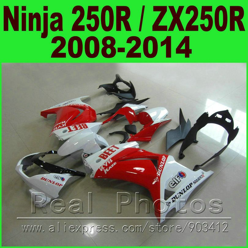 Rot weiß RÜBEN für Kawasaki Ninja 250R Verkleidungen kit 2008-2014 jahr ZX250R EX250R verkleidung kits K0I8