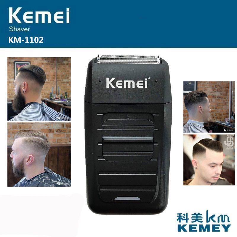 Kemei KM-1102 Rechargeable sans fil rasoir pour hommes double lame alternative barbe rasoir soins du visage multifonction forte tondeuse