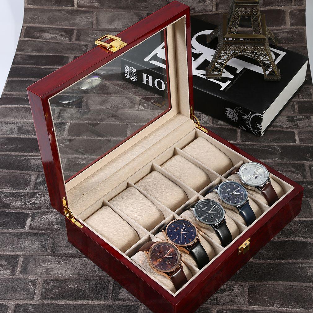 OUTAD 10 Grilles En Bois Montre Box Case Bijoux Collection D'affichage De Stockage Cas Rouge Caixa Par Relogio Saat Kutusu Bois Montre boîte