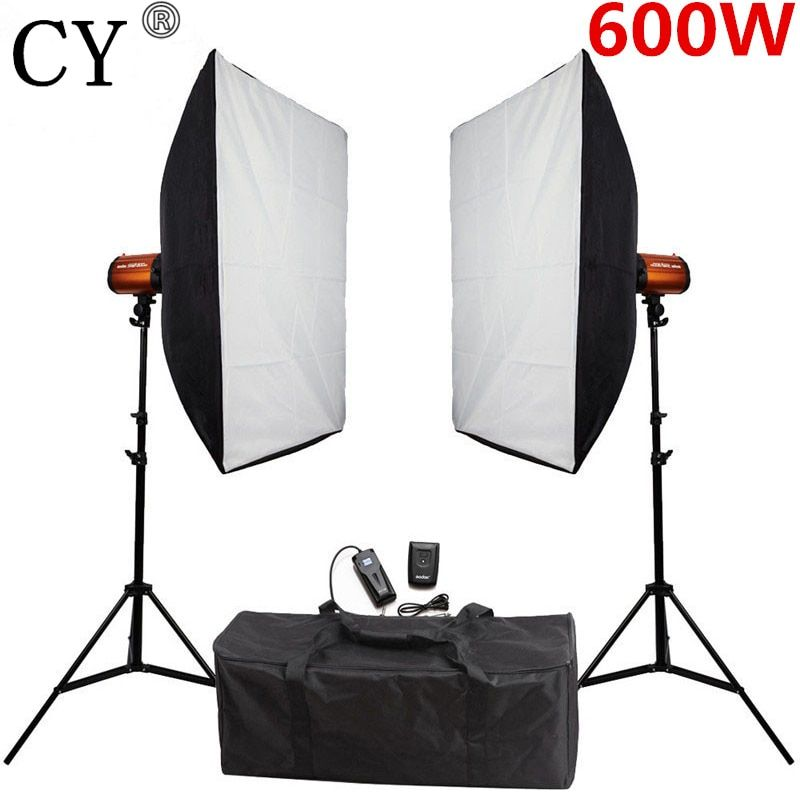 CY 600w Softbox Flash Lighting Kit Photography Studio Storbe Light Lightbox Stand Set Photo Studio Accessories Godox Smart 300SD