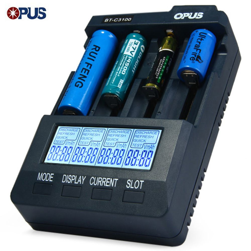 Opus BT-C3100 V2.2 Digital Intelligent 4 Slots LCD Battery Charger For Li-Ion NiCd NiMh Batteries US / EU Plug LED Screen
