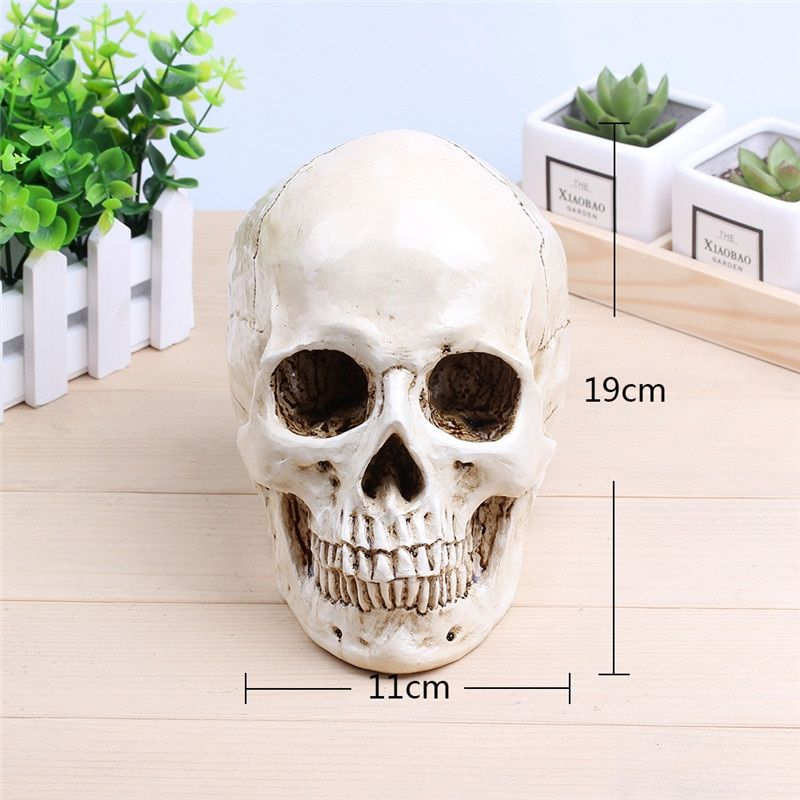 P-Flame White Human Skull Planter Archaize Garden <font><b>Storage</b></font> Pots Resin Finish Skeleton Container Flowerpots For Decoration