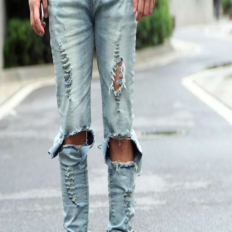 Men's Light Blue Black Ripped Skinny Distressed Destroyed Slim Jeans Pants With Holes