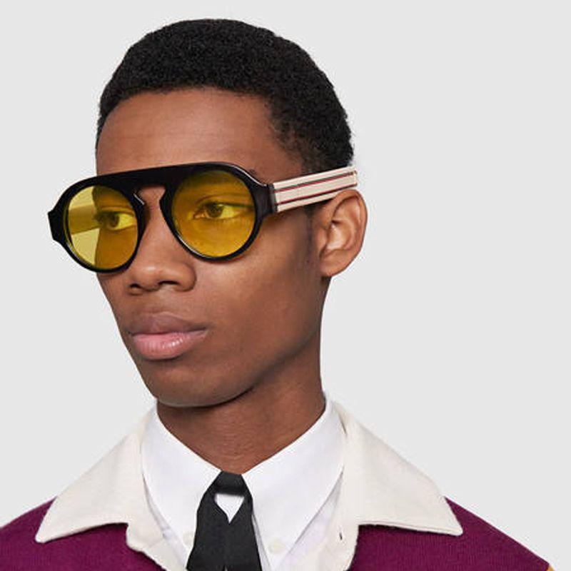 Noir Jaune Lentille Ronde lunettes de Soleil Pour Hommes Et Femmes Rouge Vert Marque Lunettes de Soleil Femme Vintage Lunettes 2018 Nouvelles Teintes hommes