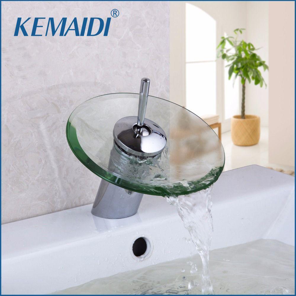 KEMAIDI Bathroom Faucet Glass Waterfall Deck Mounted Faucet Bath Basin Mixer Tap Sink Faucet Bathroom Faucets