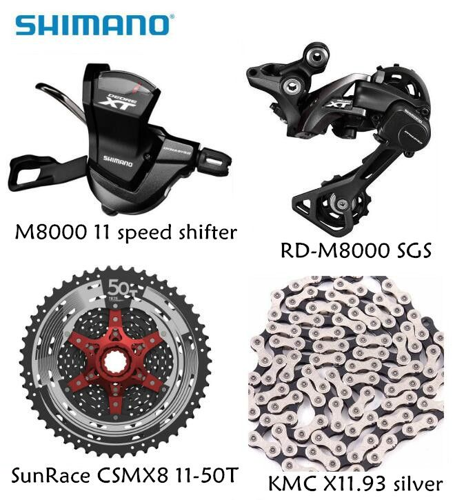 Shimano XT M8000 4 stücke fahrrad mtb 11 geschwindigkeit kit Groupset RD-M8000 Shifter mit SunRace kassette K7 KMC kette 11-46 T 11-50 T