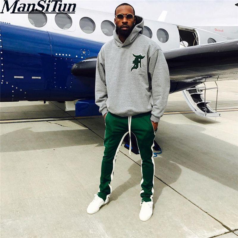 Man Si Tun 2017 High Streetwear Jogger Track High Quality Sportswear Pants Men Side Stripe Bottom Zipper Drawstring Sweatpants