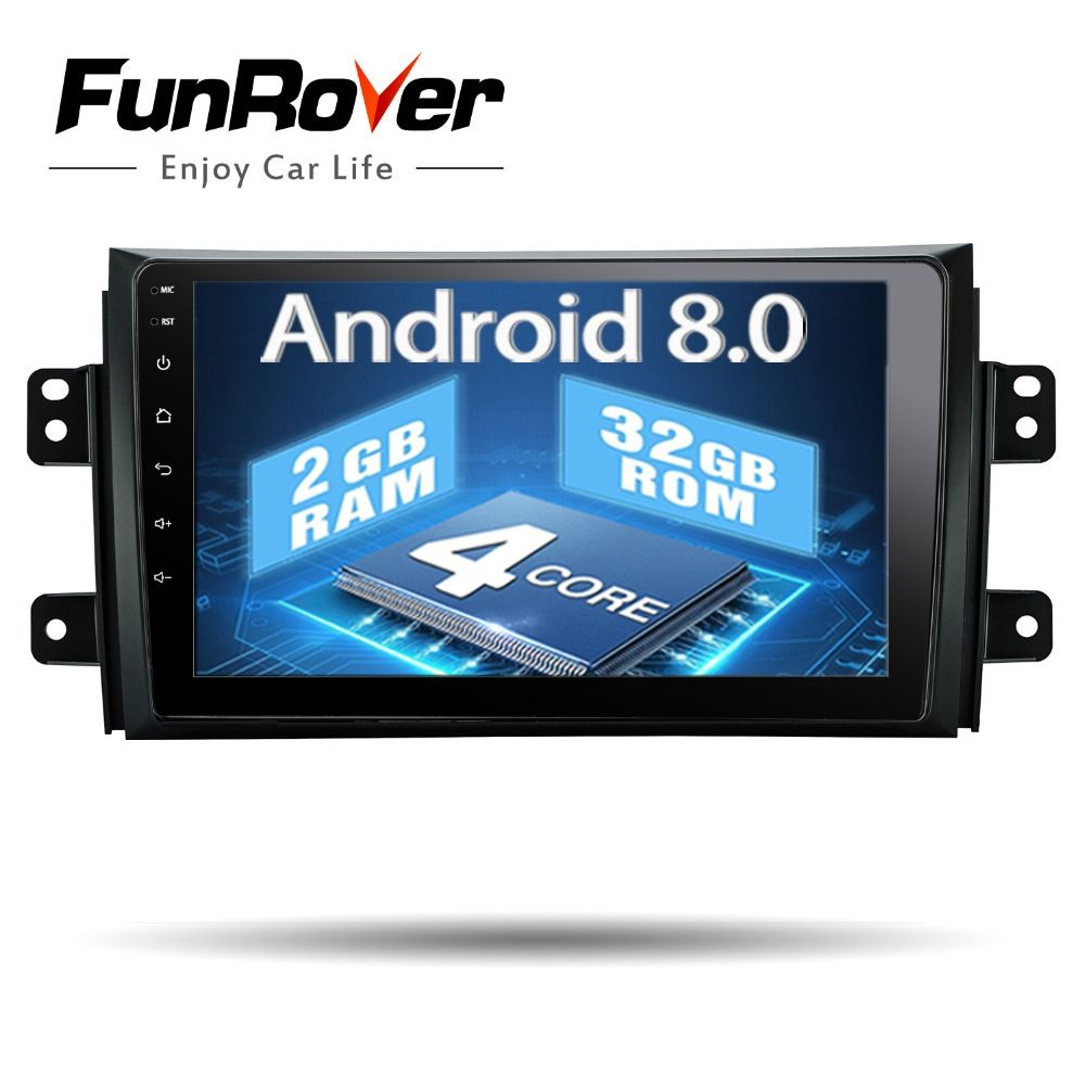 Funrover 9 inch Android 8.0 Car DVD GPS Multimedia player for SUZUKI SX4 SX-4 2006-2013 Navigation Stereo Radio tape wifi usb FM