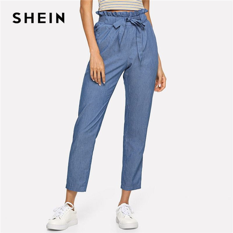 SHEIN Blue Weekend Casual <font><b>Belted</b></font> Ruffle Mid Waist Straight Leg Solid Pants Summer Women Going Out Trousers