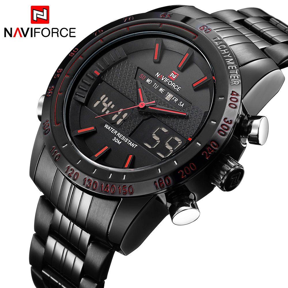 <font><b>NAVIFORCE</b></font> Original Luxury Brand Stainless Steel Quartz Watch Men Digital LED Clock Military Sports Wristwatch relogio masculino