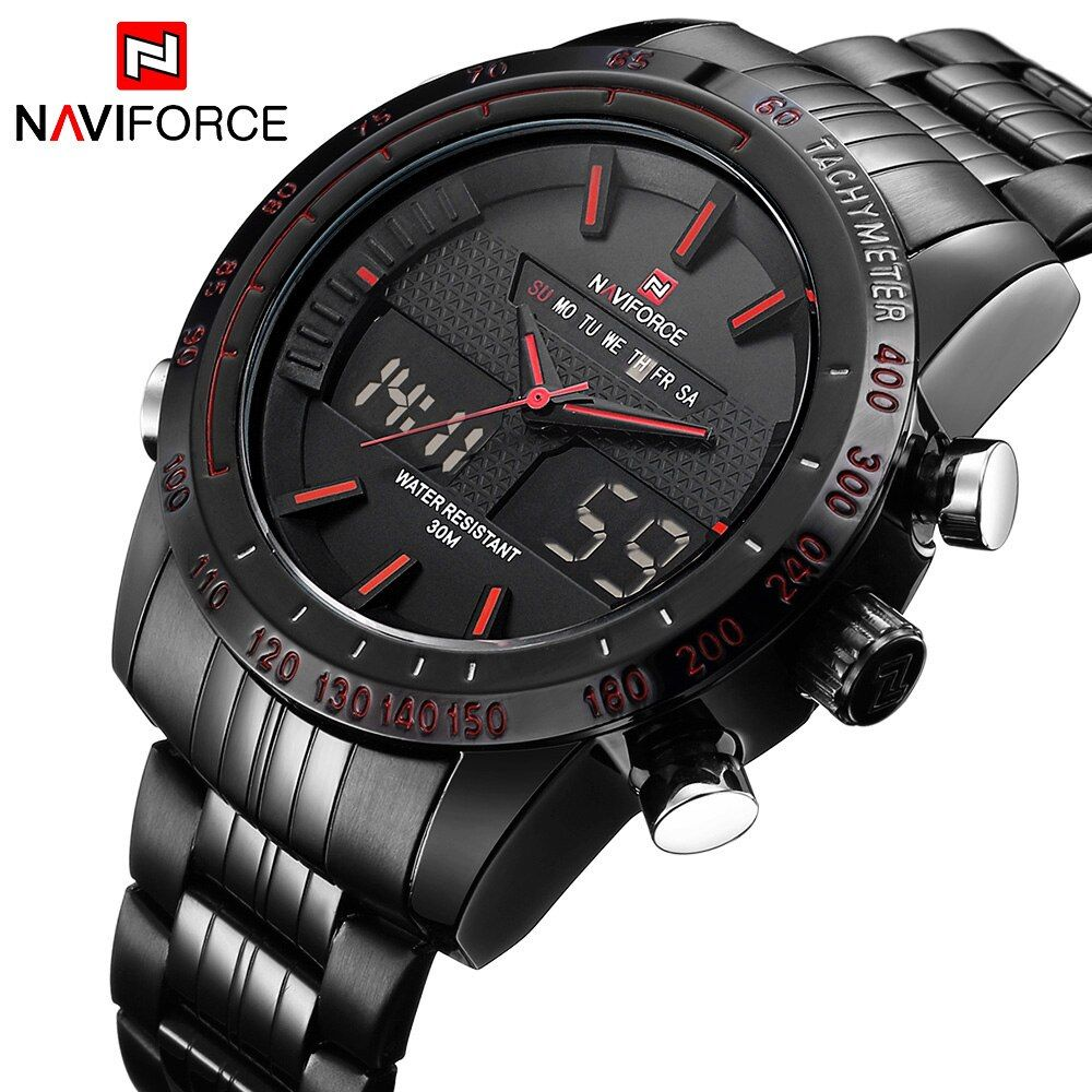 NAVIFORCE Original Luxury Brand Stainless Steel Quartz Watch Men Digital LED Clock Military Sports Wristwatch relogio masculino
