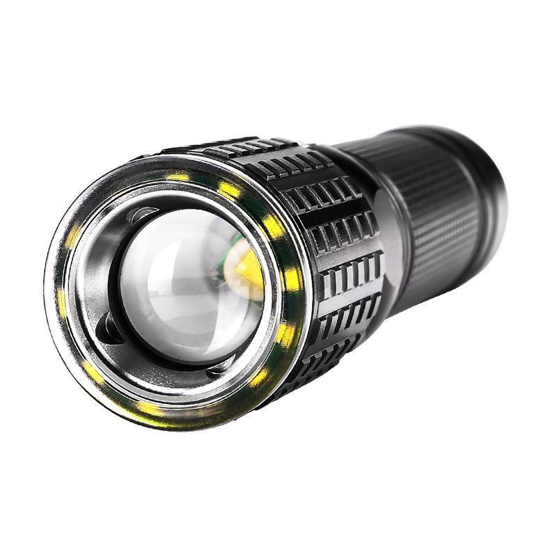 LED Aluminum Zoomable Flashlight YGAE CREE T6+12*COB Linterna Torch USB 18650 Military Tactics Powerful Led Flashlight Lampe