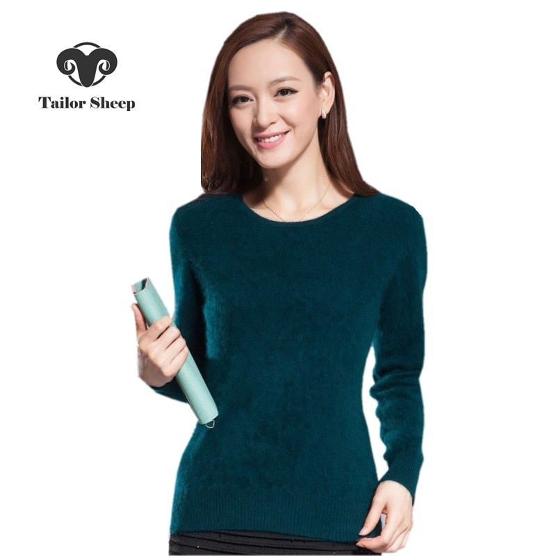 2018 winter warm sweater women soft comfortable mink <font><b>cashmere</b></font> sweaters o-neck Slim bottoming knitted thick pullover