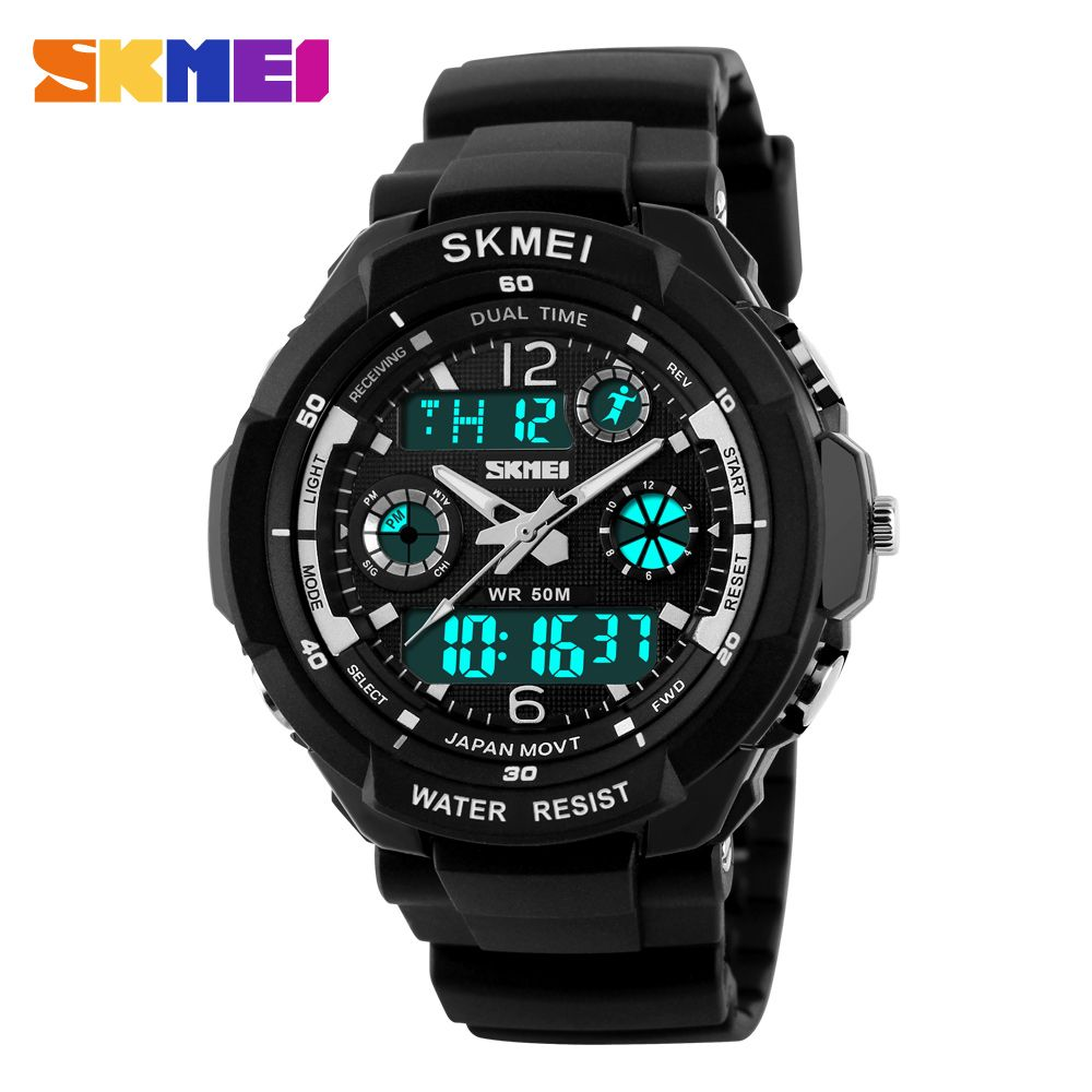 Skmei Top Brand Luxury Men Sports Watches Digital <font><b>Analog</b></font> Military LED Electronic Quartz Wristwatches Man Clock Relogio Masculino