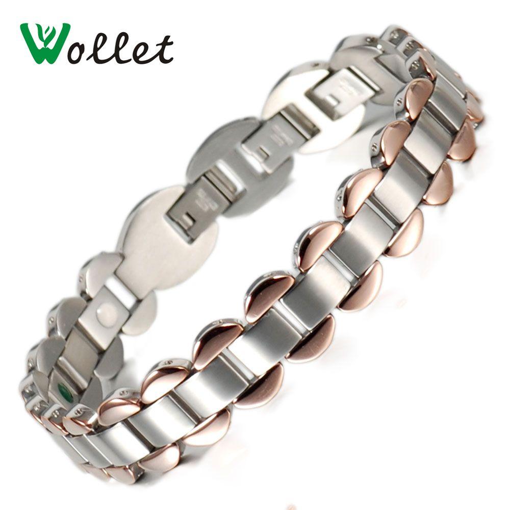 Wollet homme 13 MM couleur or Rose santé Germanium Tourmaline Bracelet acier inoxydable énergie Bracelets Bracelets pour femmes