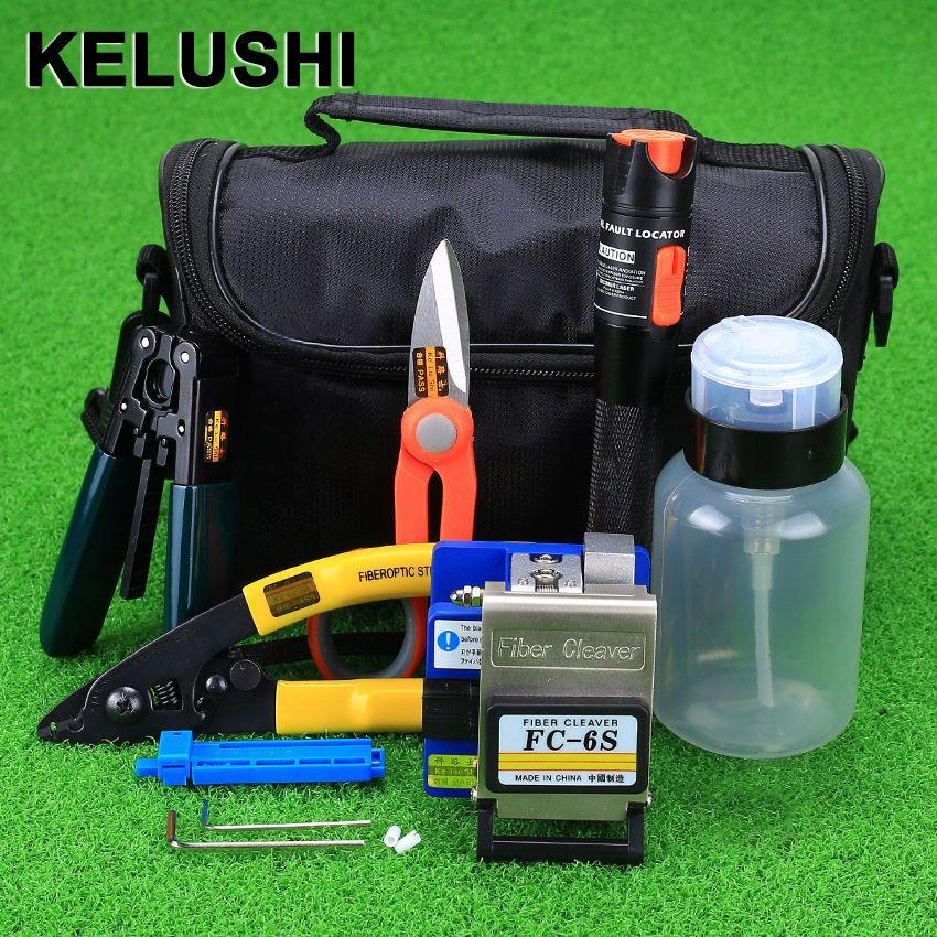 KELUSHI 15 teile/satz Faser Ftth Tool Kit mit FC-6S Faser-spalter und 10 mW Visuellen Fehlersuch Glasfaser Stripper