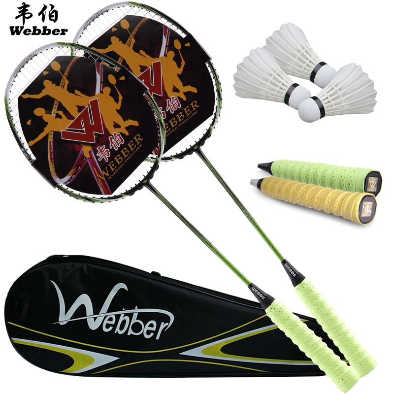 Free Shipping Genuine 2 pack single shot double pieces of ultra light carbon badminton racket and 3 badminton and 1 bag