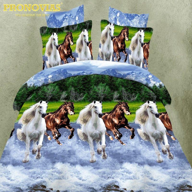 Drop shipping 3d chevaux Literie Ensemble Housse de couette Drap Taies d'oreiller Lit Kit Linge, Roi/Reine/unique xl Taille
