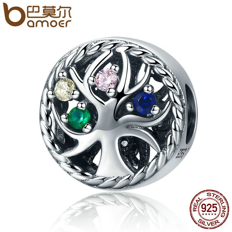 BAMOER High Quality 925 Sterling Silver Colourful Tree of Life Dazzling CZ Beads fit Women Charm Bracelets Jewelry Gift SCC213