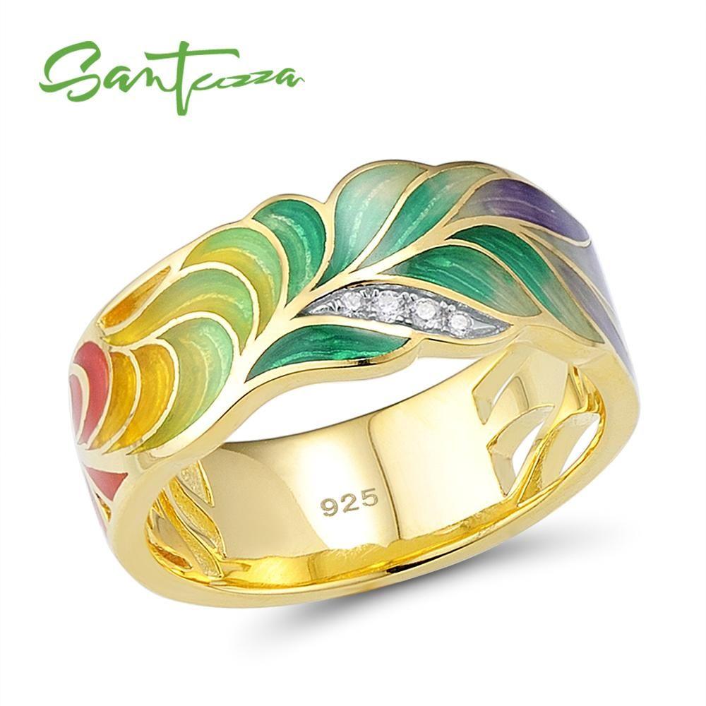 SANTUZZA bague en argent pour femmes 925 en argent Sterling bagues de mode couleur or zircon cubique anneau de fête bijoux émail fait à la main