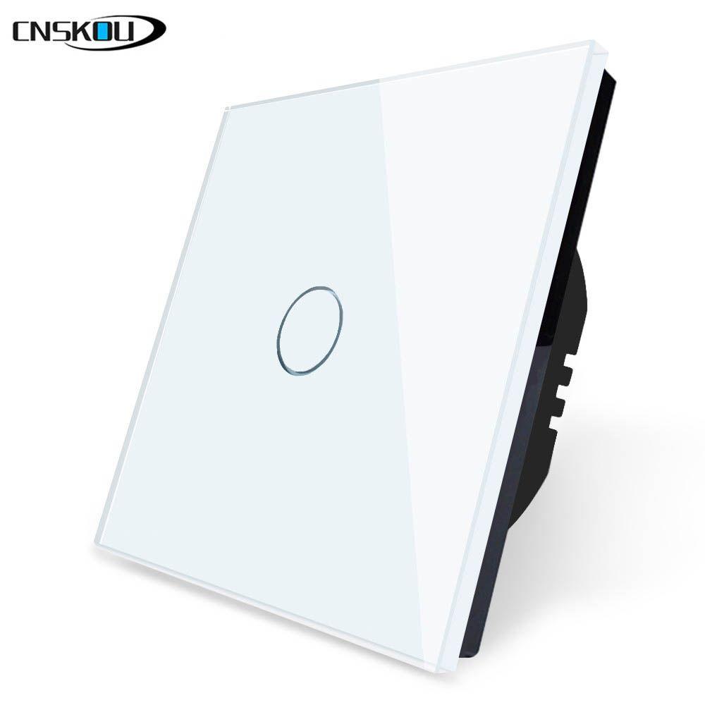 Cnskou marque EU Standard interrupteur tactile 1 Gang 1 voie, interrupteur mural écran tactile, panneau en verre cristal blanc pour LED