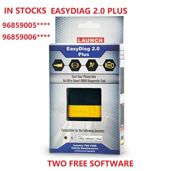 Launch Easydiag 2.0 Plus In Stocks Bluetooth EasyDiag Plus 2.0 iOS/Android with Two Free Car Models SN:96859005****/96859006****
