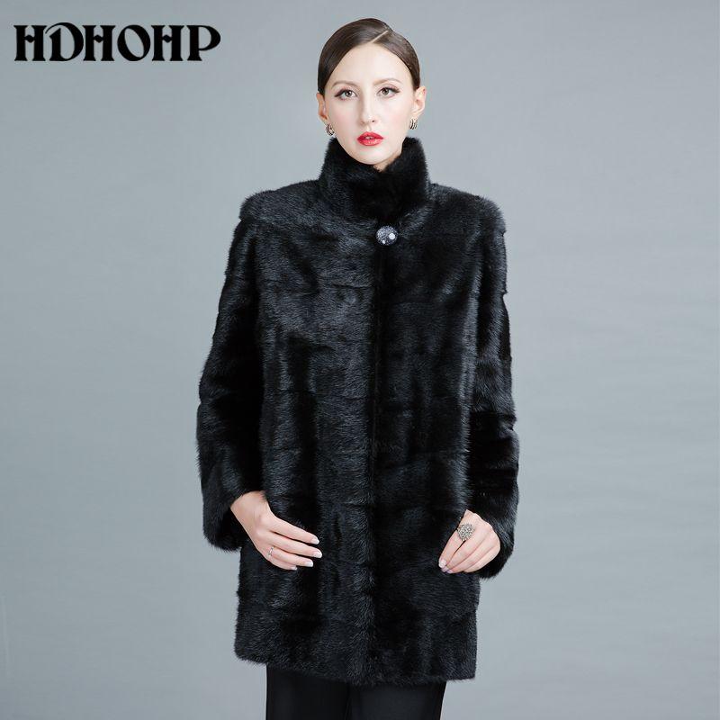 HDHOHP 2017 Neue Mode Real Nerz Mäntel Von Frauen Echtem Leder Gute Qualität Warme Anpassbare Winter Pelz jacken