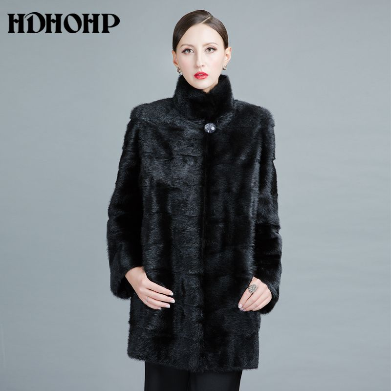 HDHOHP 2017 New Fashion Real Mink Fur Coats Of Women Genuine Leather Good Quality Warm Customizable Winter Natural Fur jackets