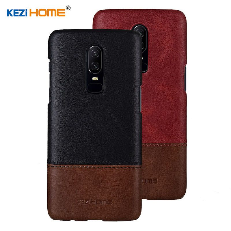 Case for OnePlus 6 KEZiHOME Luxury Hit Color Genuine Leather Hard Back Cover capa For Oneplus 6 6.28'' Phone cases