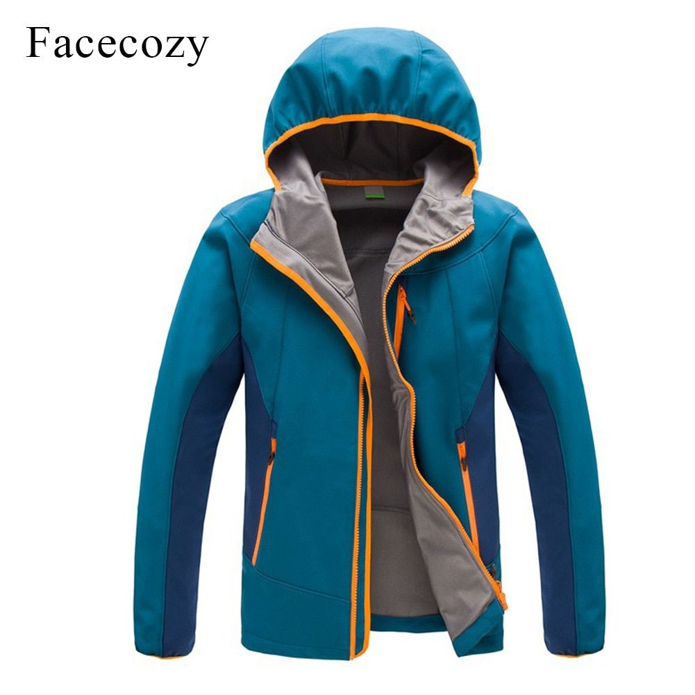 Facecozy Men's Outdoor Autumn Breathable Patchwork <font><b>Hiking</b></font> Softshell Jacket Hooded Thermal Fishing Coat