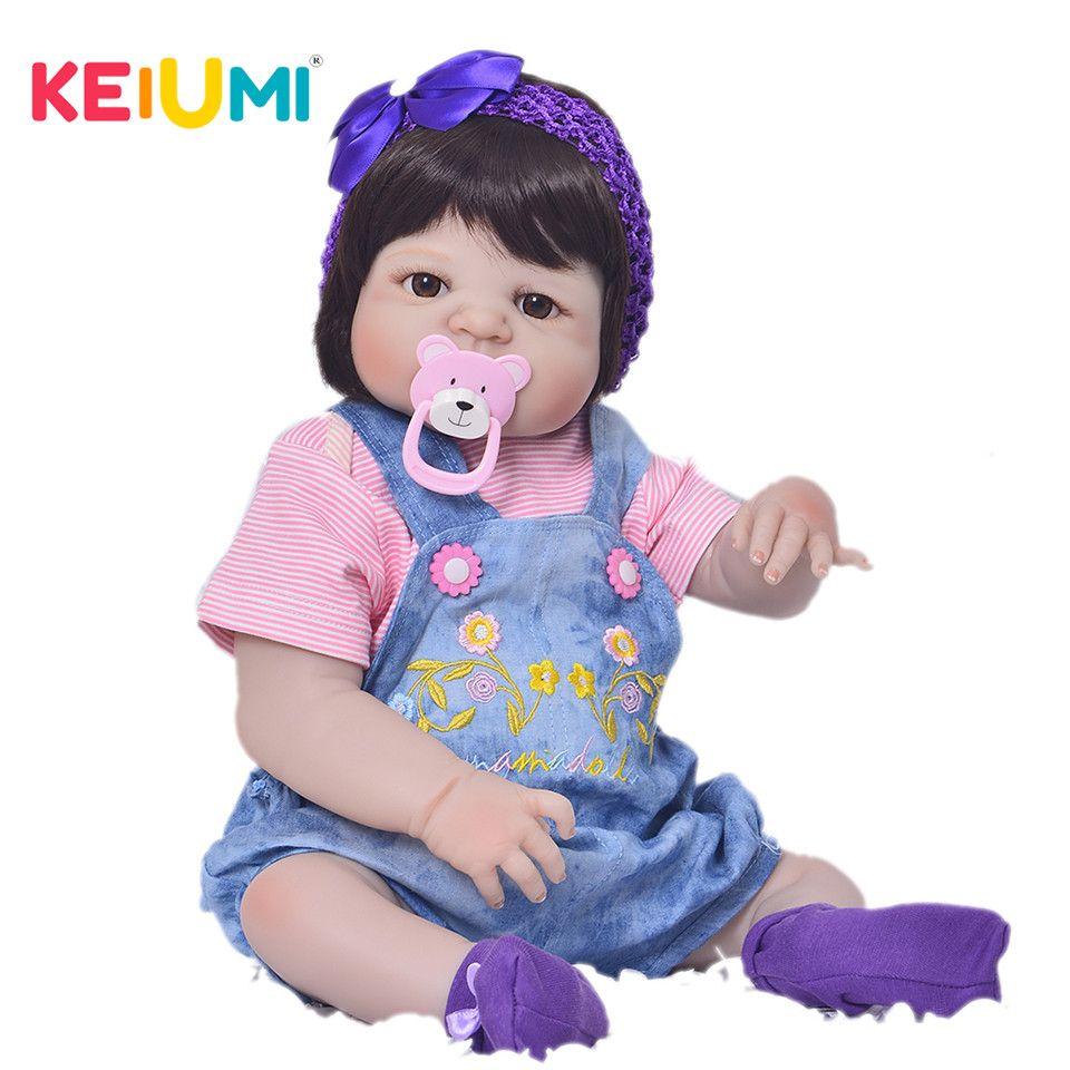 Lebensechte 23 zoll Volle Silikon Reborn Baby Mädchen Puppen für Verkauf Simulation Ethnische Reborn Babys mit Puppe Kleidung Geburtstag Geschenke