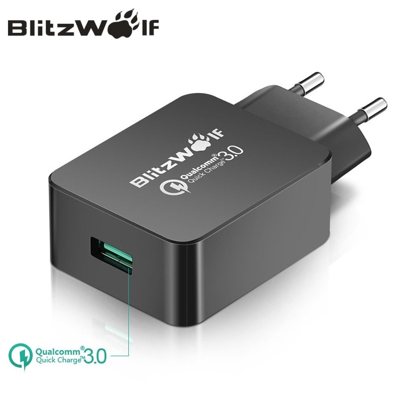 BlitzWolf Travel Wall Charger Quick Charge 3.0 USB Charger <font><b>Adapter</b></font> EU Plug 18W Universal Mobile Phone Charger For Iphone 7 6 6s