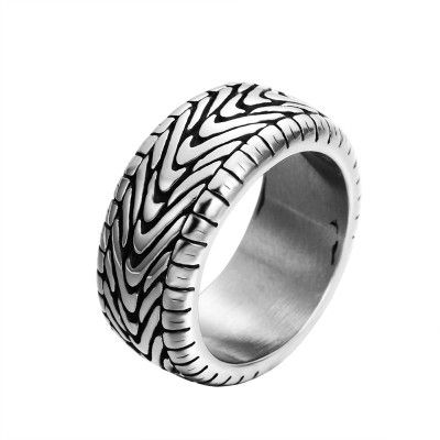 Newlovery tyre shape bands fashion ring made of stainless steel in gray for both man and women Beauty and jewelry