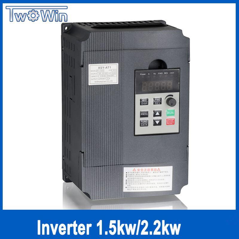 Twowin1.5KW / 2.2KW 220V Single-phase inverter input VFD 3 Phase Output Frequency Converter Adjustable Speed 1500W 220V Inverter