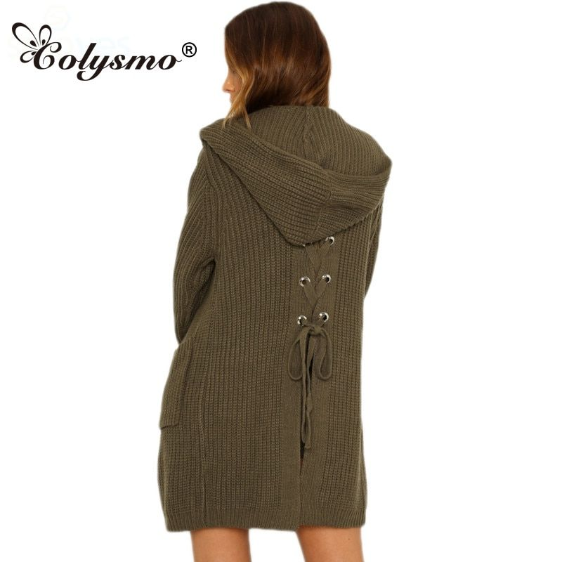 Colysmo Hooded Back Lace Up Sweater Knitting Long Cardigan Sweater Women Jumper Female Coat 2017 Warm Knitted Pocket Outerwear