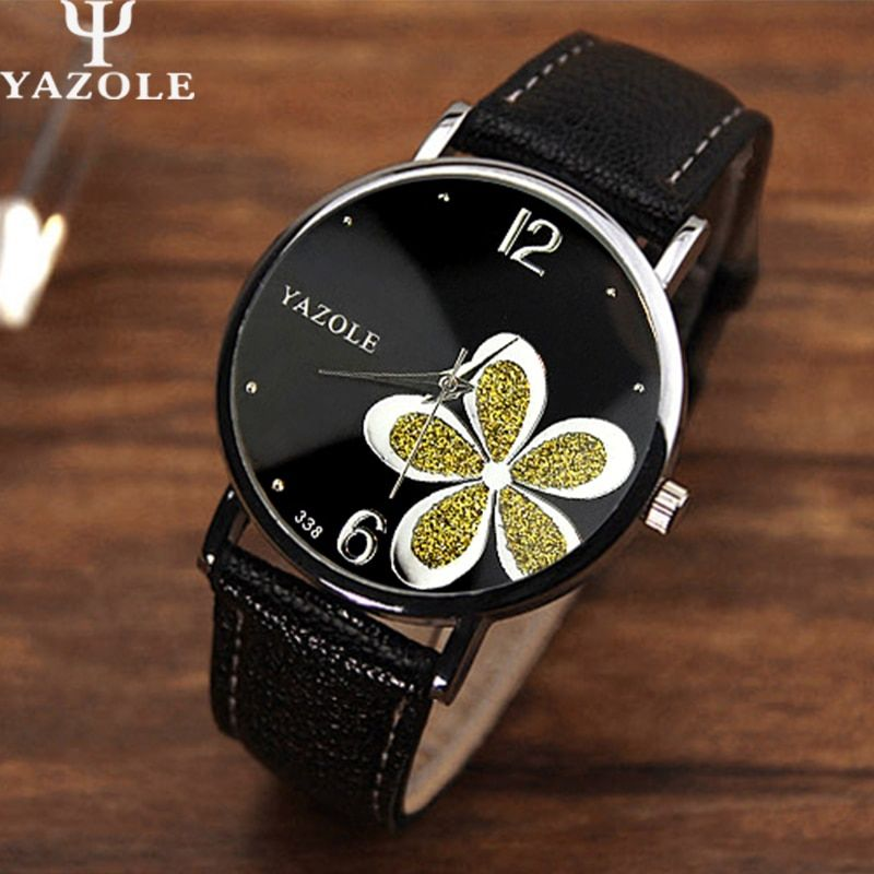 Yazole Quartz Watch Women Brand Luxury 2017 Leather Strap Flower Wristwatch Ladies Quartz-watch Montre Femme Relogio Feminino